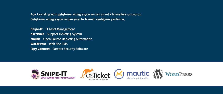 Açık kaynak yazılım geliştirme, entegrasyon ve danışmanlık hizmetleri sunuyoruz.